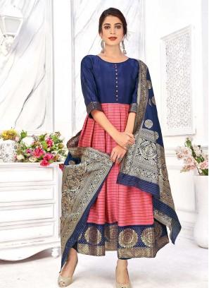 Pink Color Banarasi Silk Anarkali Kurti
