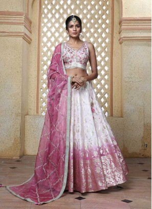 Pink Color Banarasi Silk Lehenga