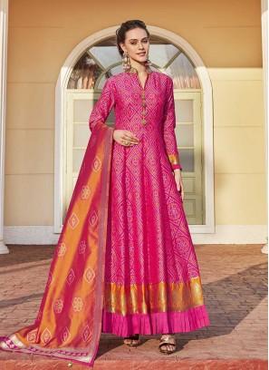 Pink Color Bandhani Print Jacquard Anarkali Dress