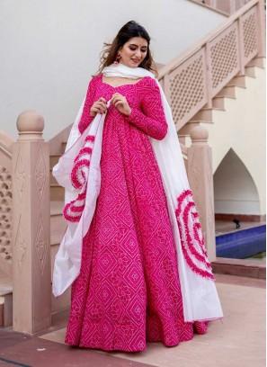 Pink Color Bandhani Print Malslin Dress