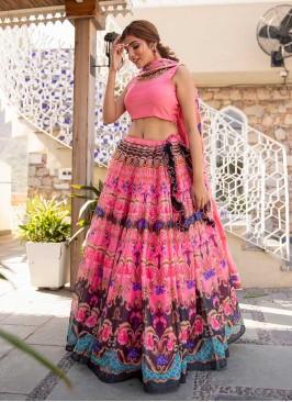 Pink Color Bangalori Printed Lehenga