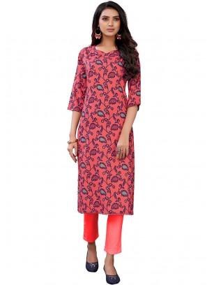 Pink Color Casual Wear Printed Kurti