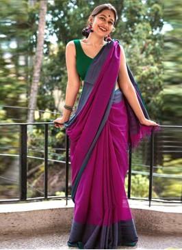 Pink Color Chanderi Cotton Daily Wear Saree