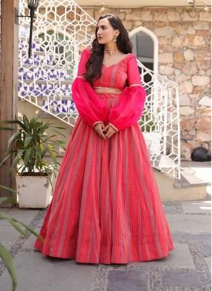 Pink Color Chanderi Festive Wear Lehenga