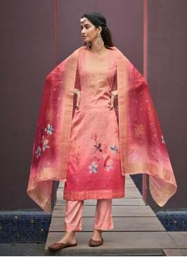 Pink Color Chanderi Jacquard Suit