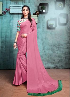 Pink Color Chiffon Designer Saree