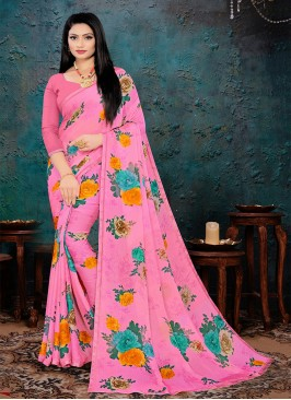 Pink Color Chiffon Printed Saree