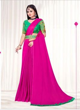 Pink Color Chiffon Saree For Girls