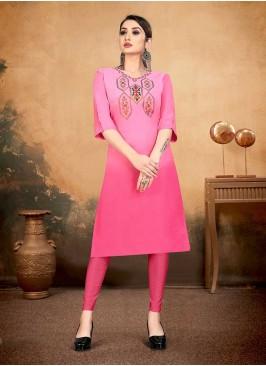 Pink Color Cotton Casual Wear Kurti