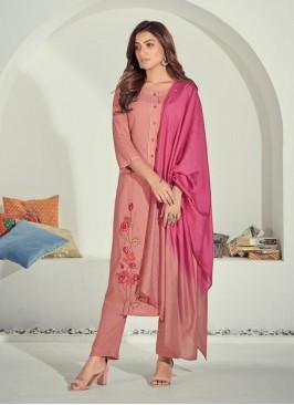 Pink Color Cotton Kurti Set