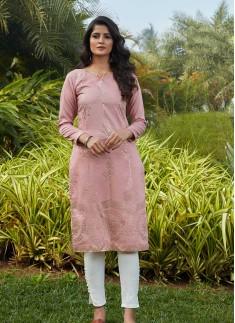 Pink Color Cotton Silk Daily Wear Kurti