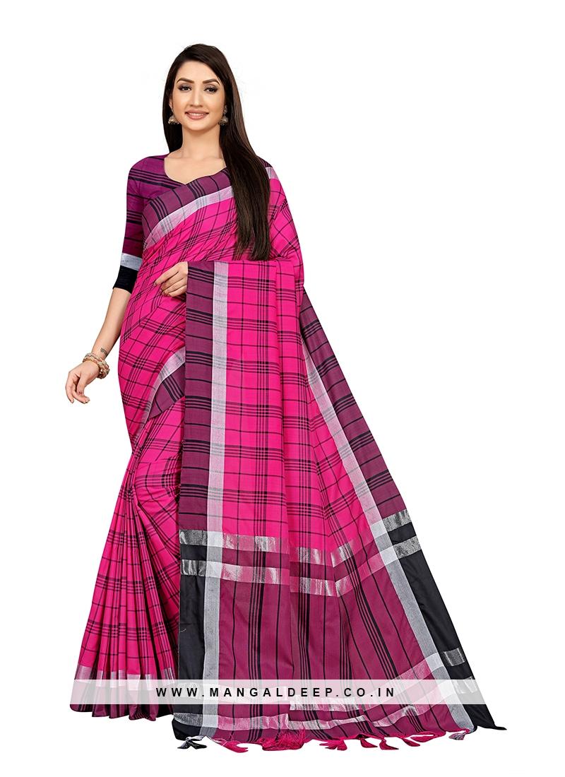 Pink Color Cotton Silk Saree