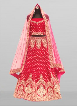 Pink Color Diamond Work Velvet Fancy Lehenga
