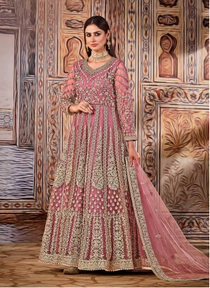 Pink Color Embroidered Long Suit