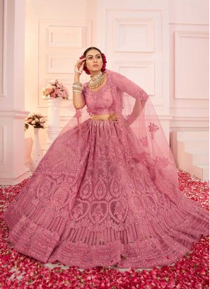 Pink Color Embroidered Net Lehenga