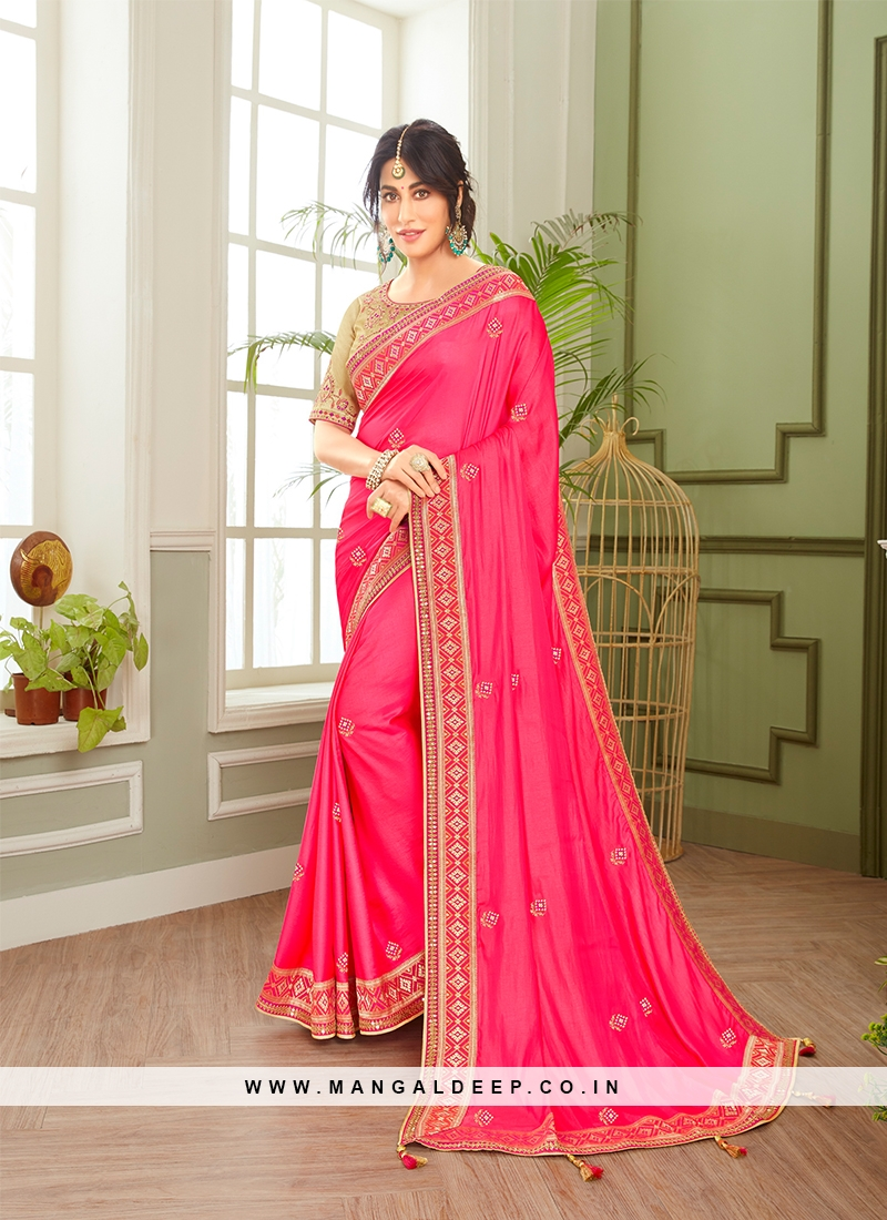 Pink Color Embroidered Saree For Ladies