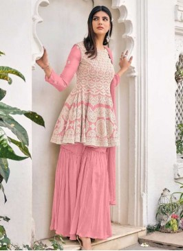 Pink Color Embroidered Sharara For Women