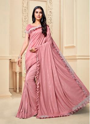 Pink Color Fancy Fabric Frill Border Saree