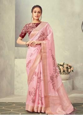Pink Color Floral Print Silk Saree