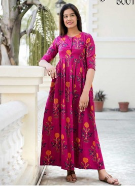Pink Color Flower Print Gown