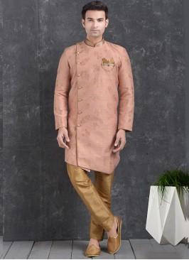 Pink Color Function Wear Indo Western Kurta Pajama