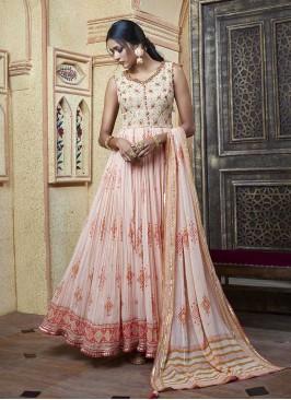 Pink Color Georgette Anarkali Suit