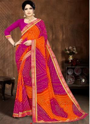 Pink Color Georgette Bandhani Saree