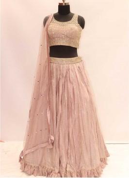 Pink Color Georgette Cut Dana Work Lehenga