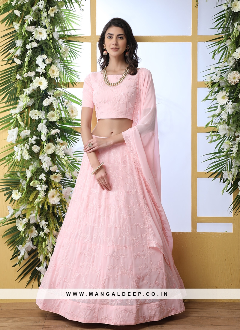 Pink Color Georgette Embroidered Lehenga