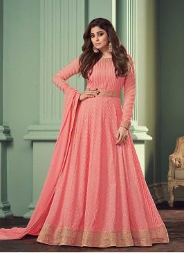 Pink Color Georgette Floor Length Dress