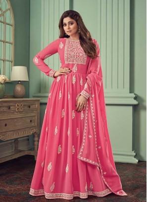 Pink Color Georgette Long Salwar Suit
