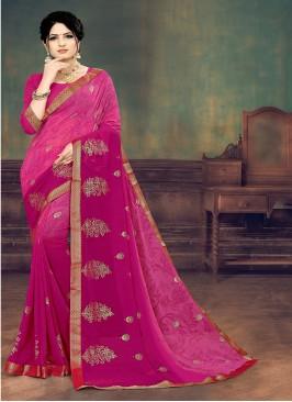 Pink Color Georgette Printed Saree