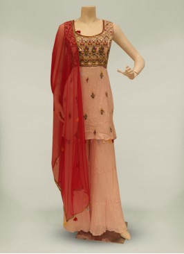 Pink Color Georgette Readymade Palazzo Suit
