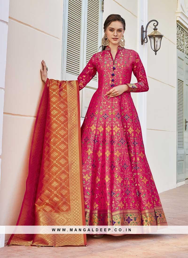 Pink Color Jacquard Anarkali Salwar Suit