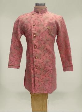 Pink Color Jacquard Mens Kurta