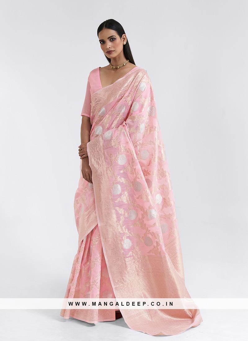 Pink Color Linen Fabric Fancy Saree