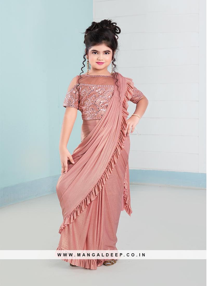 Pink Color Lycra Fabric Baby Girl Saree