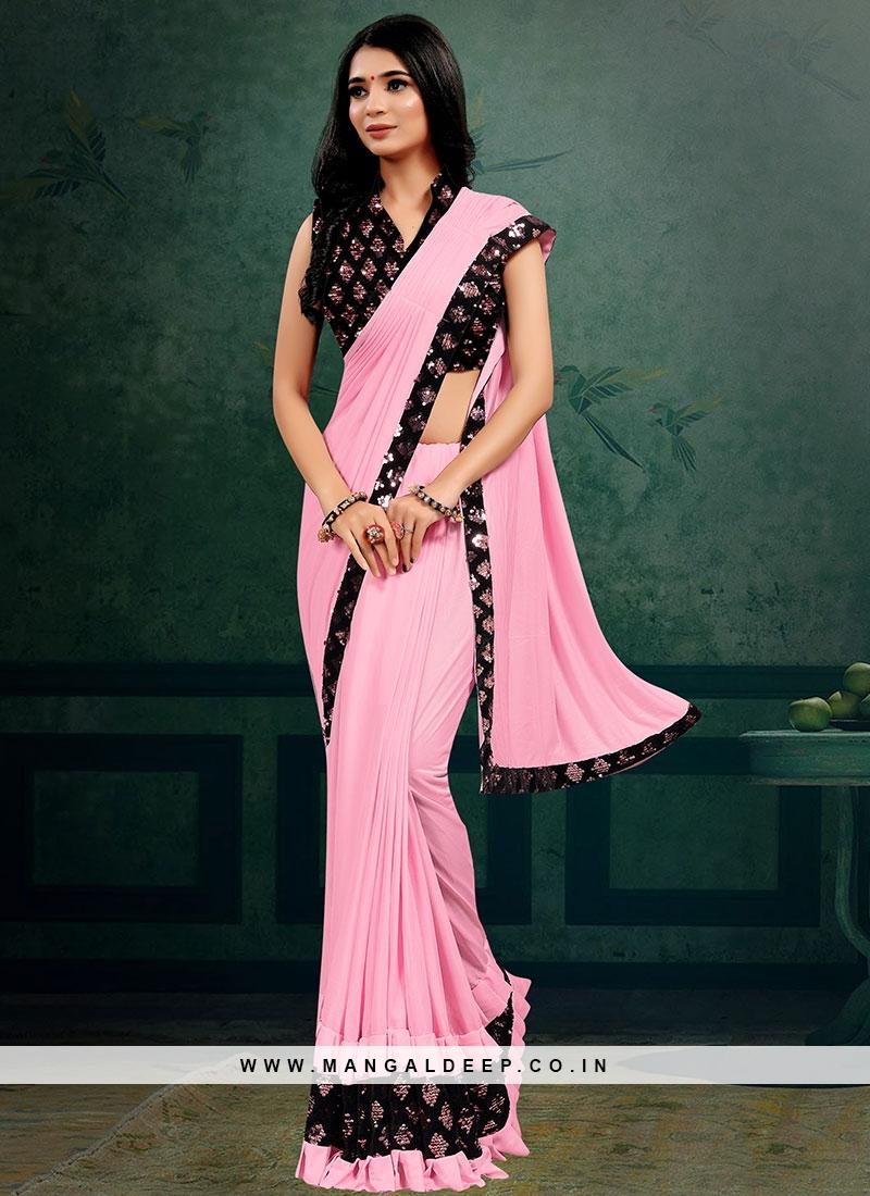Pink Color Lyrca Beautiful Saree