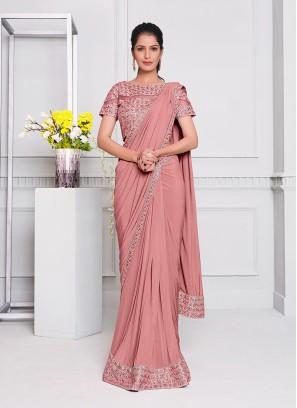 Pink Color Lyrca Latest Saree