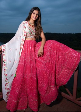 Pink Color Mirror Work lehenga Choli