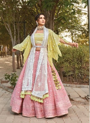 Pink Color Mirror Work Regal Lehenga