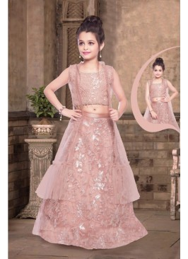 Pink Color Moti Work Net Lehenga For Kids