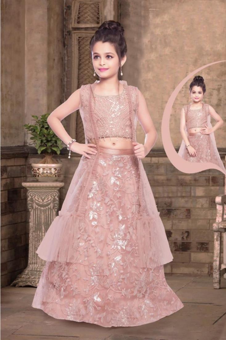 Pink Color Moti Work Net Lehenga For Kids
