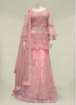 Pink Color Net Diamond Work Designer Sharara Suit