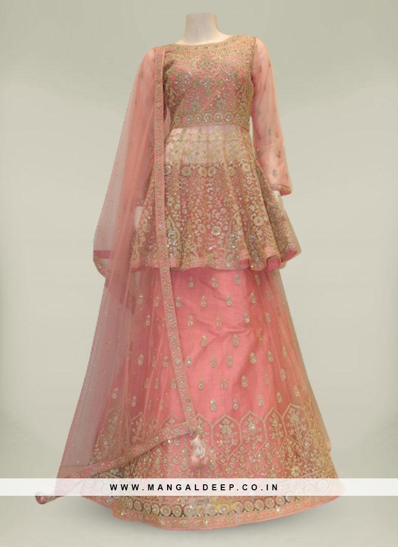 Pink Color Net Diamond Work Fancy Ladies Dress