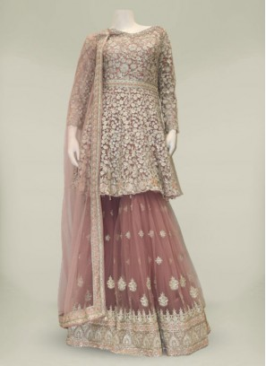 Pink Color Net Diamond Work Sharara Dress