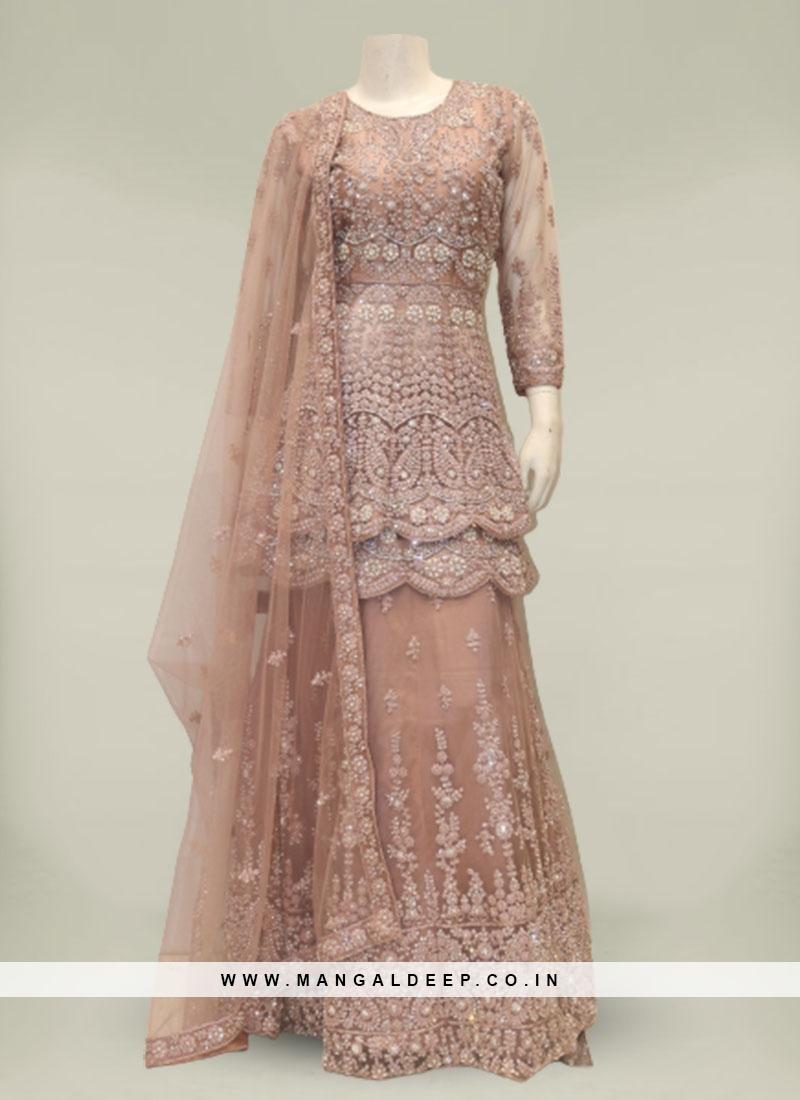 Pink Color Net Diamond Work Sharara Suit