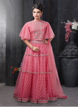 Pink Color Net Fabric Moti Work Lehenga For Baby Girls