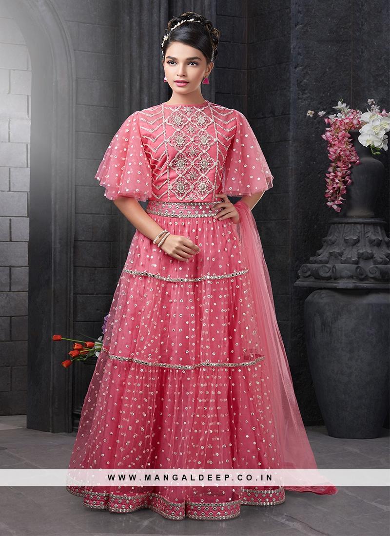 Pink Color Net Fabric Moti Work Lehenga For Baby Girls