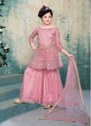 Pink Color Net Gharar For Little Girl